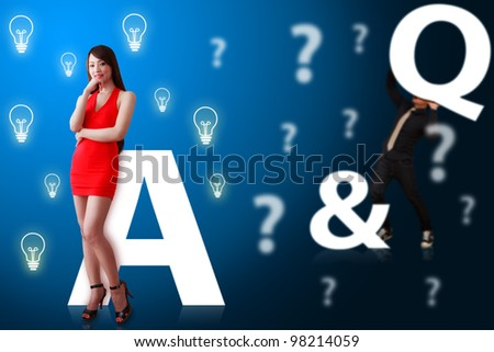 Business man and woman on Question and answer background - stock photo