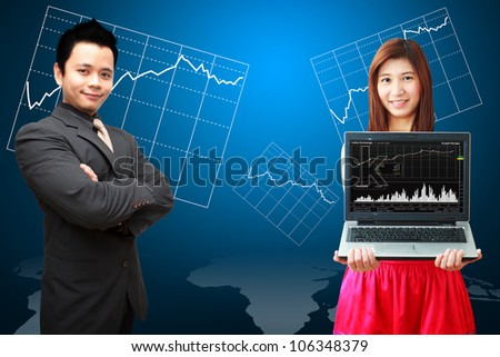 Business man and woman present the Graph report - stock photo