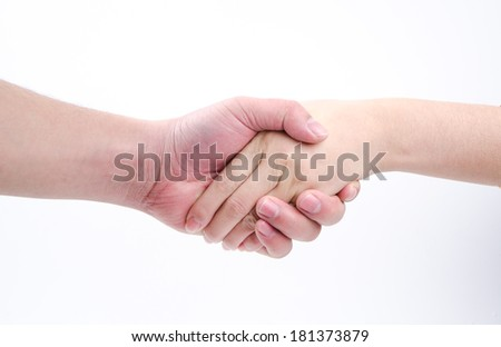 Business man and woman shaking hands, isolated on white. - stock photo