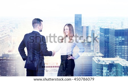 Business man and woman shaking hands on New York city background. Double exposure - stock photo