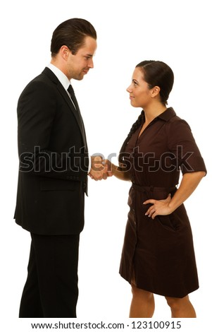 Business man and women shaking hands over agreement. Isolated on white - stock photo