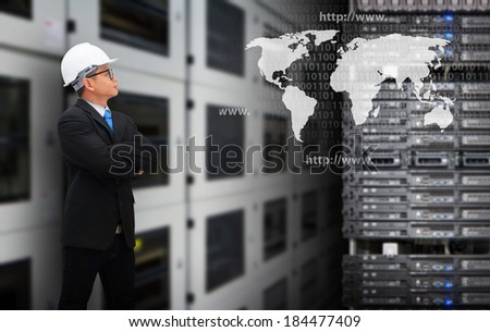 Business man and world map - stock photo