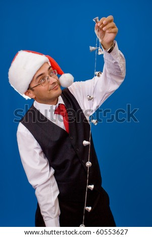 Business man as Santa. Christmas theme. - stock photo