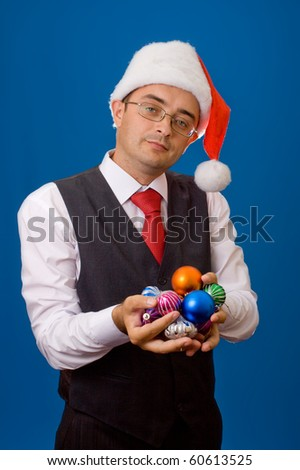 Business man as Santa. Christmas theme.