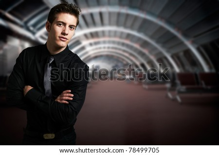 Business man at modern office interior - stock photo
