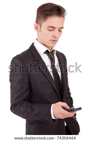 Business man at the phone, isolated over white