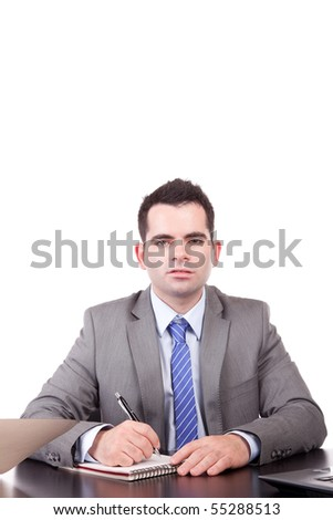Business man at work - isolated - stock photo