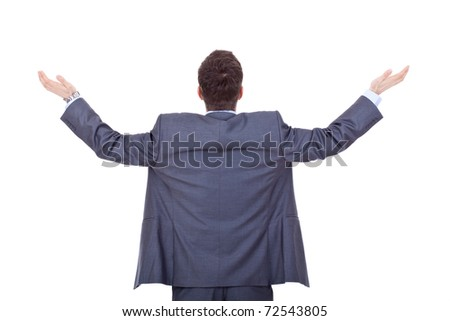 business man back, praying with his arms up , over white - stock photo