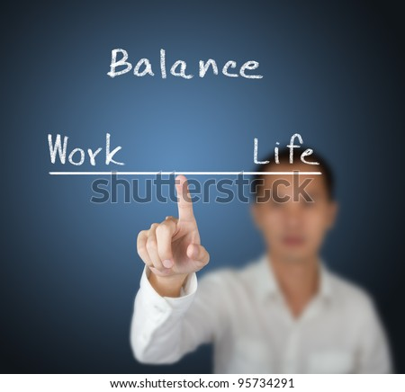 business man balance his work and life on finger tip