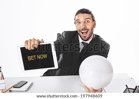 Business Man Bet on football match  - stock photo