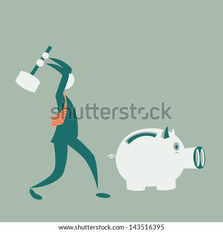 Business man breaking piggy bank with coins - stock photo