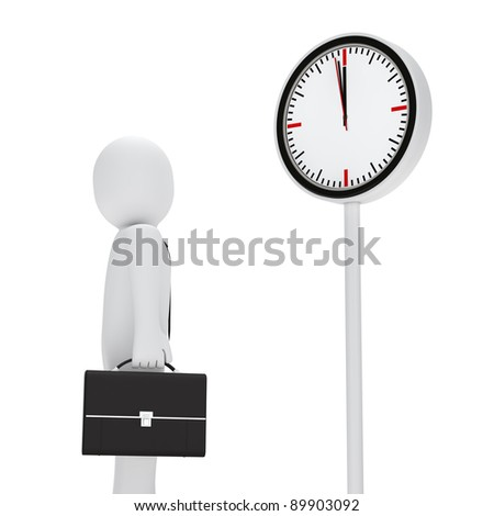 business man briefcase stand for a clock - stock photo