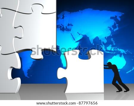 business man building a 3d puzzle - stock photo