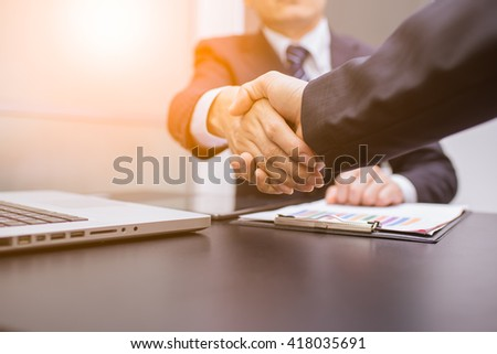 Business Man. Business handshake and business people. handshake Business concept in office.  - stock photo
