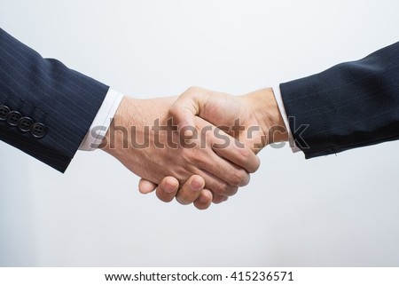 Business Man. Business handshake and business people. handshake on white. Shake hands after their meeting. - stock photo