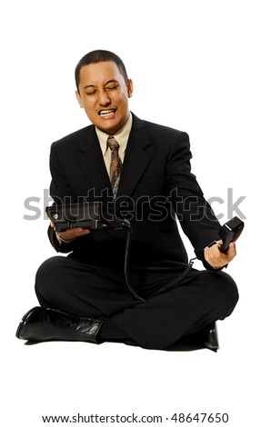 Business man calling with angry sitting on white background - stock photo