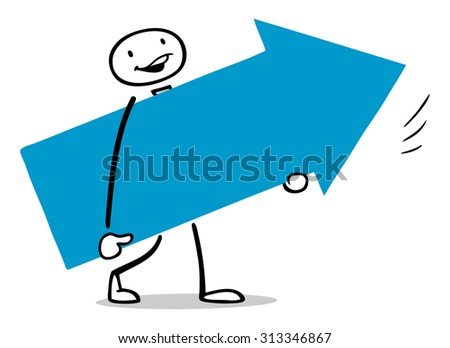Business Man Carrying Big Arrow Symbol Stock Illustration 313346867