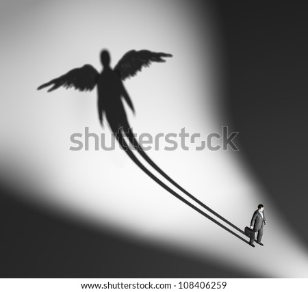 Business man casting a winged silhouette shadow - stock photo