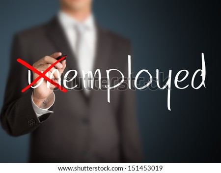 business man change unemployed to employed - stock photo