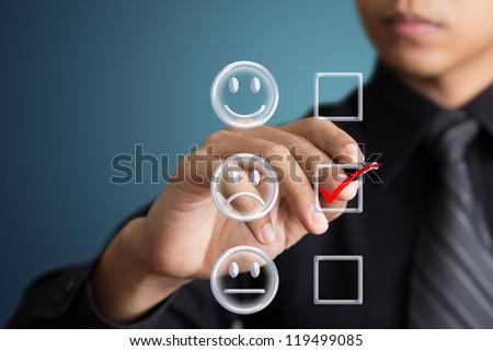 business man check box unhappy mood - stock photo