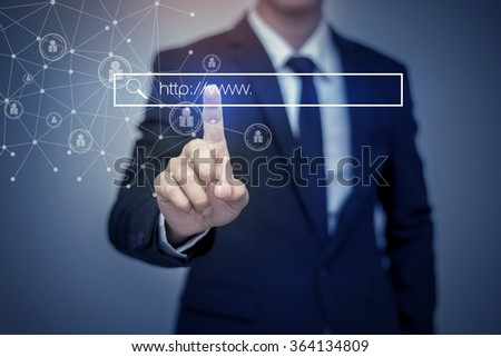 business man clicking internet search page on computer touch screen