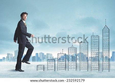 Business man climbing up on hand drawn buildings in city concept - stock photo
