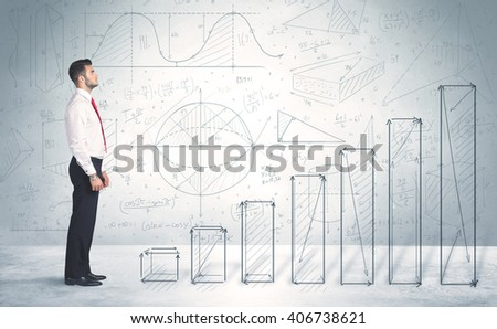 Business man climbing up on hand drawn graphs concept on background - stock photo
