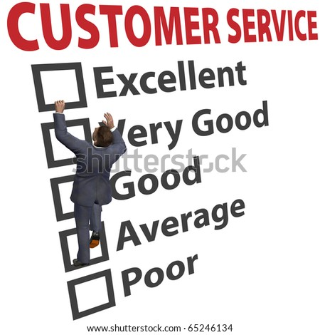 Business man climbs up a 3D CUSTOMER SERVICE form to increase his client satisfaction rating - stock photo