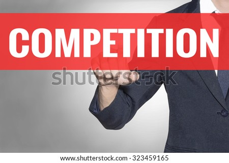 Business man Competition word touching on red tab virtual screen for business concept - stock photo