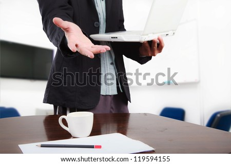 Business man concept, give hand to front - stock photo