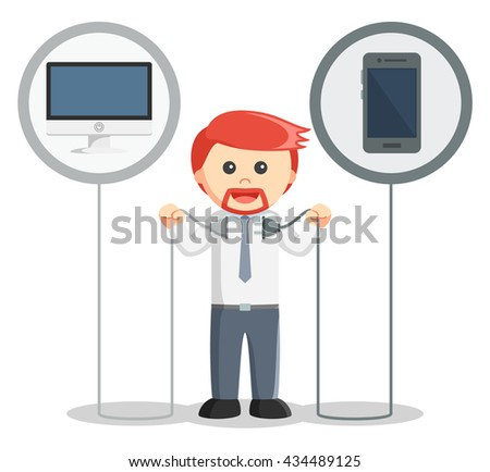 Business man connecting a smartphone and computer - stock photo