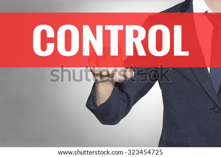 Business man Control word touching on red tab virtual screen for business concept - stock photo