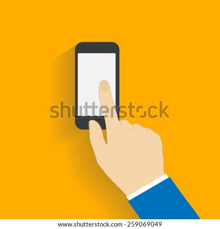 Business man controls  black smartphone, touching blank white empty screen. Using mobile smart phone. Flat design concept with copy space.  illustration  - stock photo