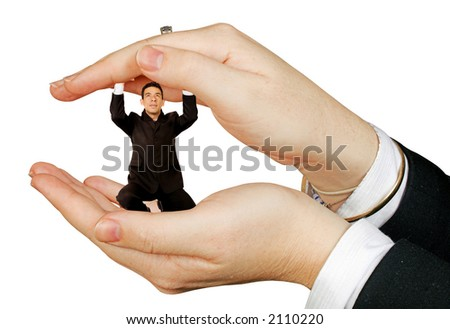 business man convered by hands over white - stock photo