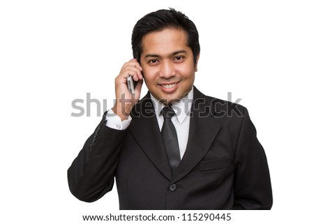 business man  conversation over phone - stock photo