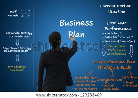 Business man create business plan concept - stock photo