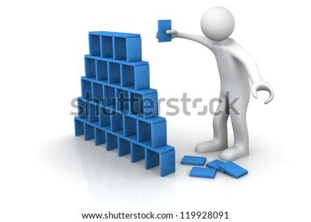 business man creating  success - stock photo