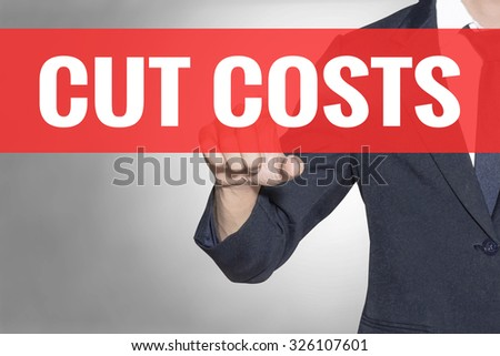 Business man Cut Costs word touching on red tab virtual screen for business concept - stock photo