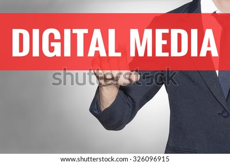 Business man Digital Media word touching on red tab virtual screen for business concept - stock photo