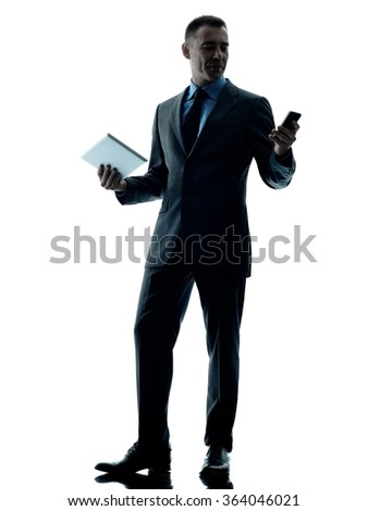 business man digital tablet  telephone isolated - stock photo