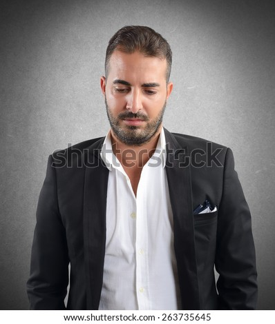Business man discouraged by difficulties at work - stock photo