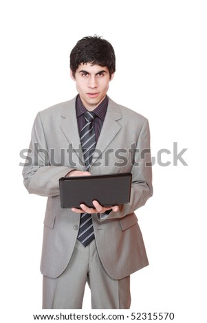 Business man displaying a laptop computer - isolated over a white background