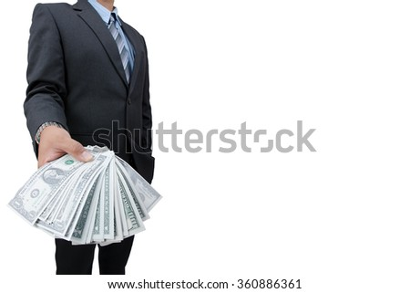 Business Man Displaying a Spread of Cash over a wight background - stock photo