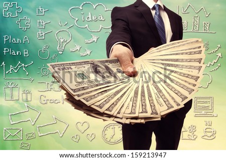 Business Man Displaying a Spread of Cash over Hand Drawing Cartoon Illustration