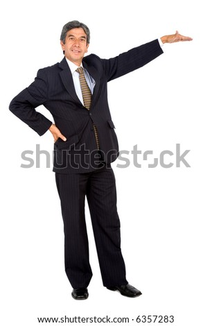 business man displaying something isolated over a white background
