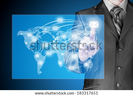 business man distribute digital mail