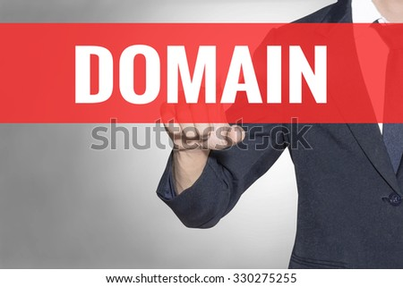 Business man Domain word touching on red tab virtual screen for business concept - stock photo