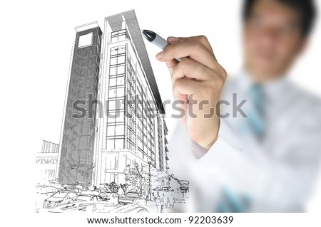 Business man draw building - stock photo