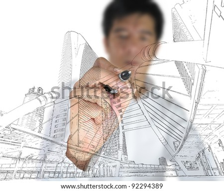 Business man draw building and cityscape - stock photo