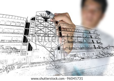 Business man Draw Cityscape and Building - stock photo